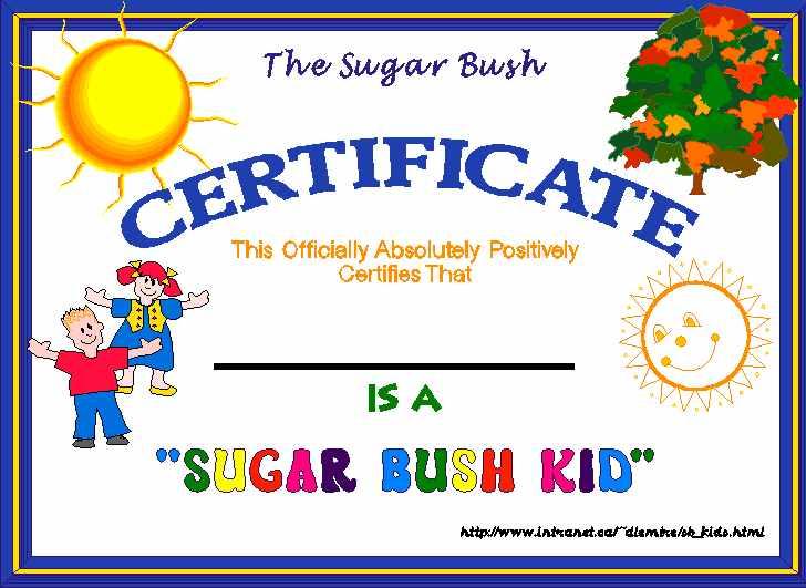 The Sugar Bush Kid Certificate